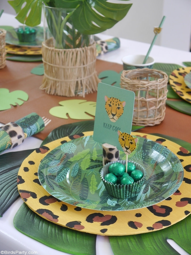 Jungle Party Ideas and DIY Decor - easy, quick and fun craft ideas to style a summer party, birthday, baby shower or any other celebration at home! by BirdsParty;com @birdsparty #jungle #jungleparty #jungleanimals #jungletablescape #junglebirthday #partyideas #summerparty #summertablescape #summertable #leopard