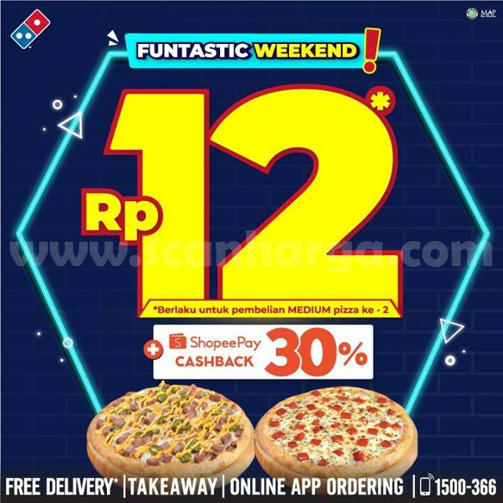 Dominos Pizza Promo 12.12 - Beli Pizza ke-2 hanya Rp 12,-