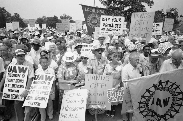 1981 seniors protest Reagan's proposed cuts in their Social Security.