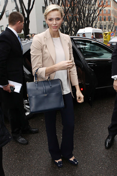 Princess Charlene and Armani Bag, Monaco Princess Charlene style and fashions Armani Bag in blue