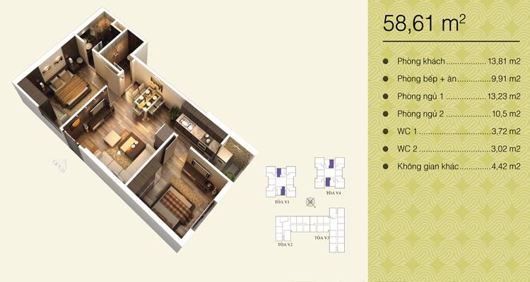 Home City Trung Kính - căn 58,61 m2