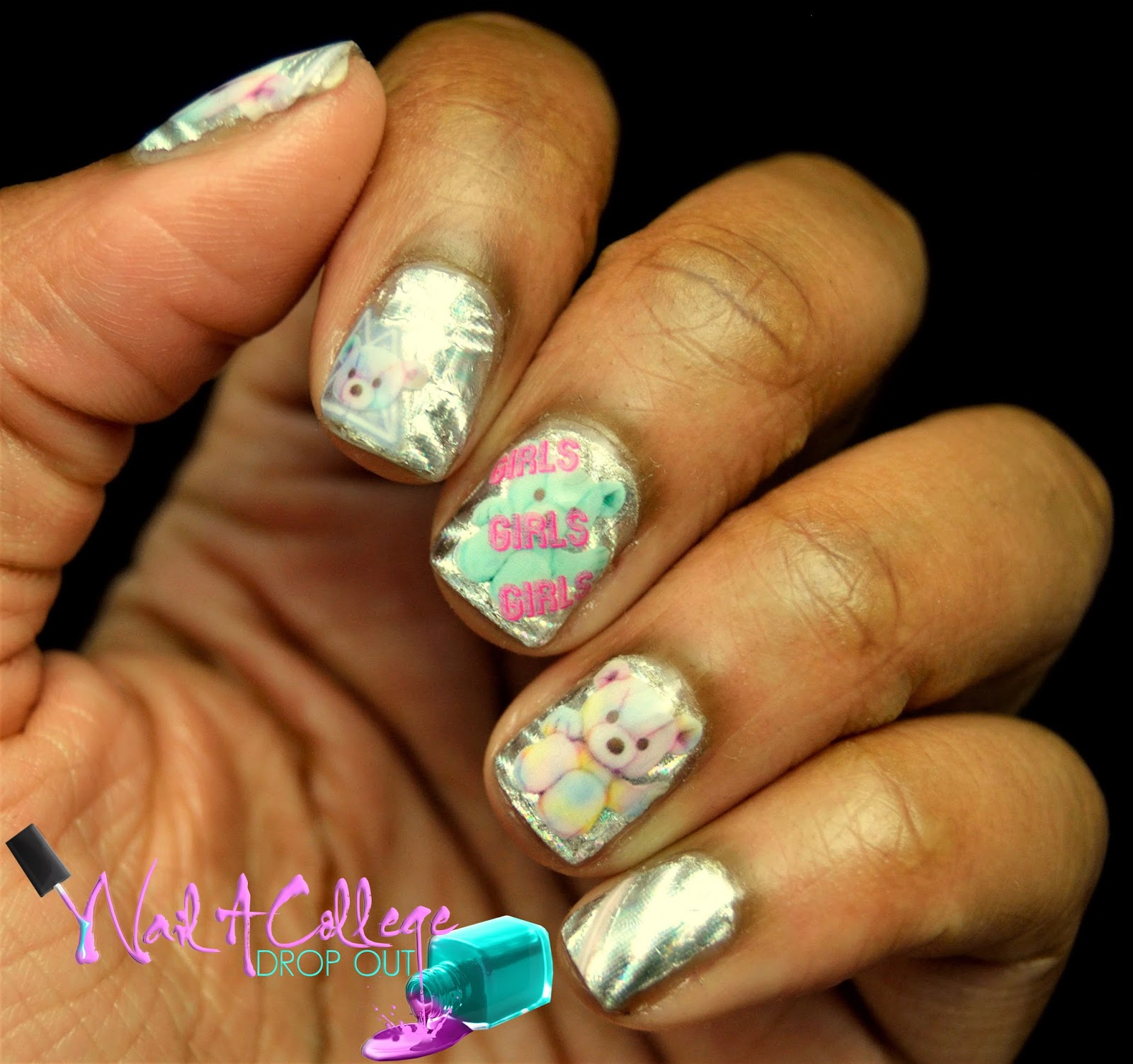 Nail A College Drop Out: Girls Girls Girls x Teddy Bears Nail Art