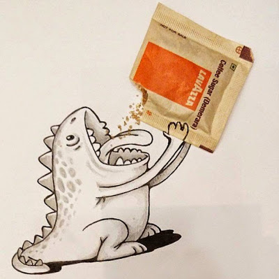 Doodle o garabato de dinosaurio interactuando con su entorno