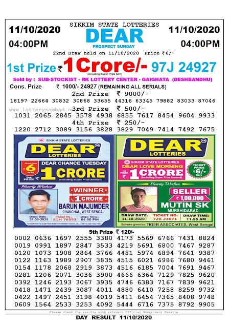 Sikkim State Lottery Result 11-10-2020, Sambad Lottery, Lottery Sambad Result 4 pm, Lottery Sambad Today Result 4 00 pm, Lottery Sambad Old Result