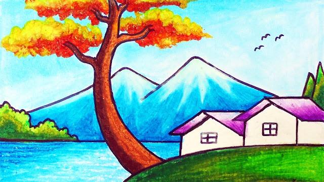 menggambar pemandangan gunung