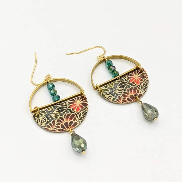 origami paper, brass, and glass bead circular earrings