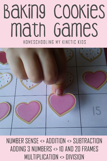 Cookie Baking Subtraction Games // Homeschooling My Kinetic Kids // number sense, addition, subtraction, adding 3 numbers, 10-frame math, 20-frame math, multiplication, division, elementary math, kindergarten math, pretend play disguised as learning