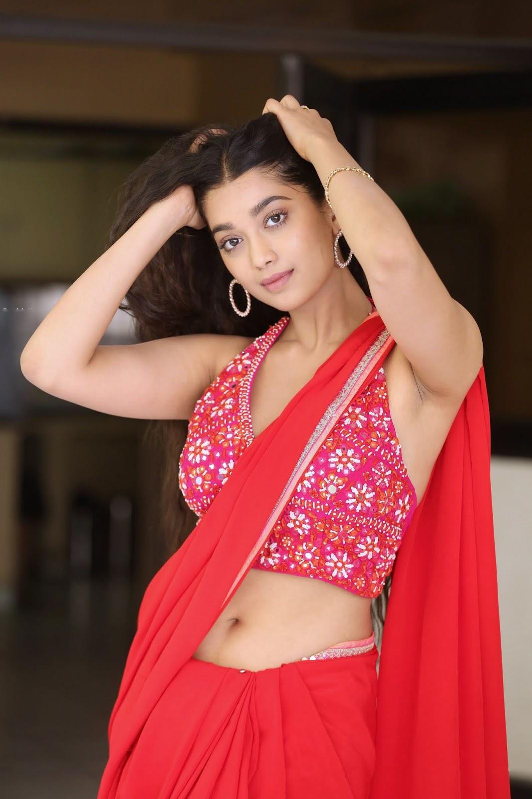 Digangana Hot Navel and Armpit in Red Saree | Valayam Movie Interview