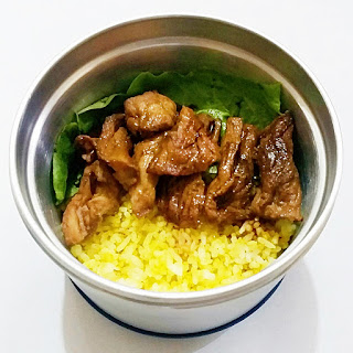 lunch, lunch baon ideas, baon ideas, pork recipes, pork bistek, turmeric rice, Momaye Baon Diary, Bubee Lunch Jar