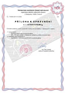 Jan Ondráček, Instalatér Brno, Oprávnění - plynové instalace - Příloha