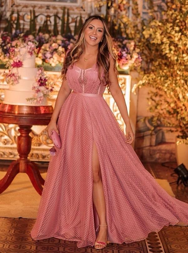 vestido longo poa rosa para madrinha de casamento