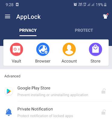 AppLock Vault feature