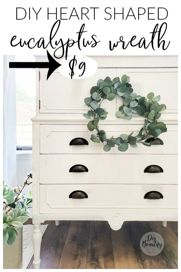 eucalyptus wreath on white cottage dresser