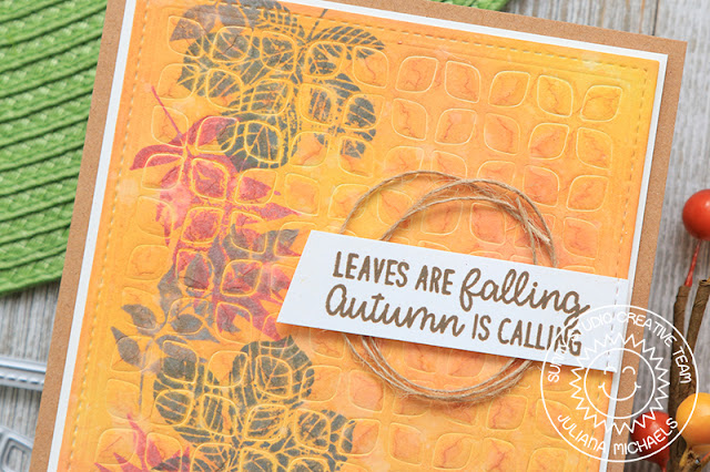 Sunny Studio Stamps: Frilly Frames Dies Elegant Leaves Happy Harvest Fall Themed Card by Juliana Michaels