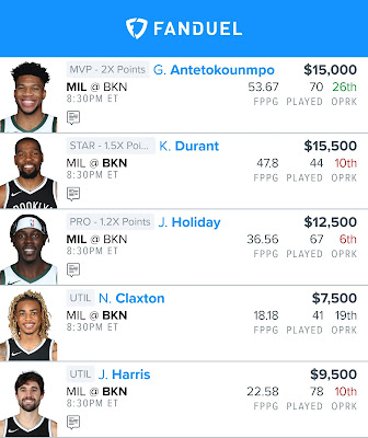 Free Fanduel NBA Lineup 06.15.21