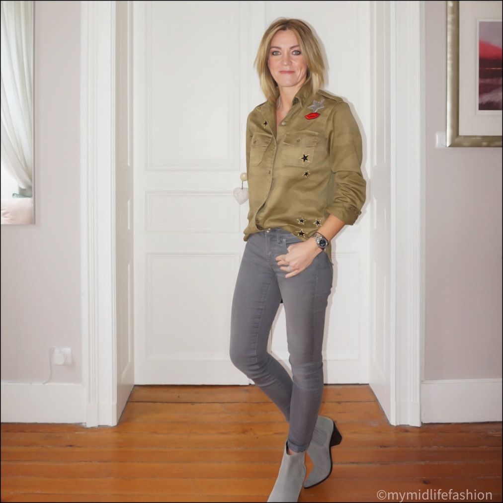 my midlife fashion, current Elliot khaki camouflage appliqué shirt, j crew 8 inch toothpick skinny jeans, jigsaw western heel ankle boots