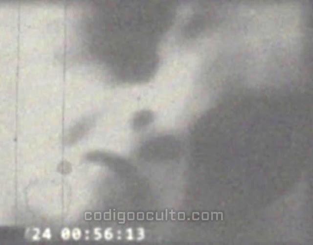 Escena del vídeo que muestra un posible EBE (Entidad Biológica Extraterrestre) gris o Zeta Reticuli, filmado muy de cerca.