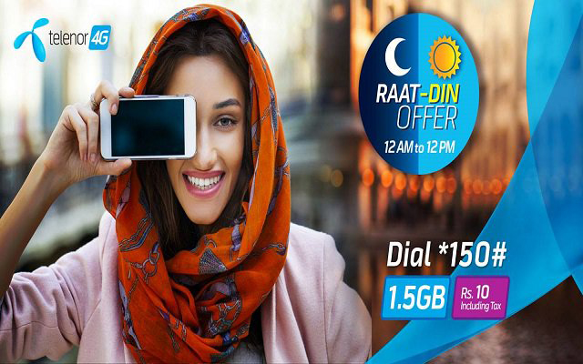 Enjoy Fastest 4G Internet with Telenor Raat Din Offer