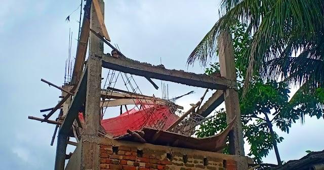 अकौर में  ढलाई के दिन ही धराशायी हुआ पानी टंकी का छत, बाल-बाल बचे काम कर रहे मजदूर