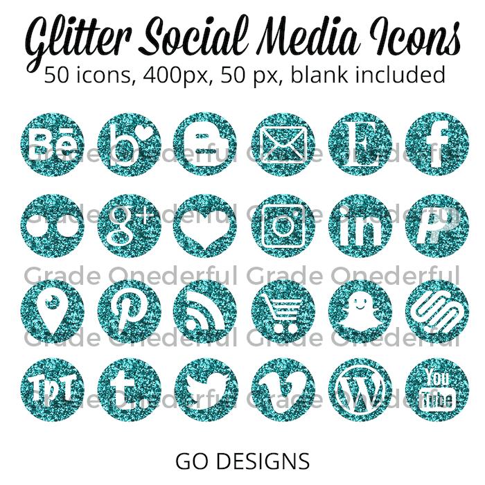 Turquoise glitter social media icons