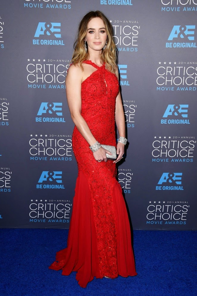 Emily Blunt in a red lace gown at the 2015 Critics' Choice Movie Awards