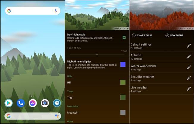 ثلاث خلفيات لغابات المناظر الطبيعية على الهواتف الذكية في تطبيق Forest Live Wallpaper.