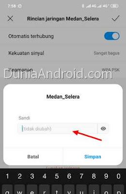 Memasukkan kata sandi WiFi yang baru di Xiaomi