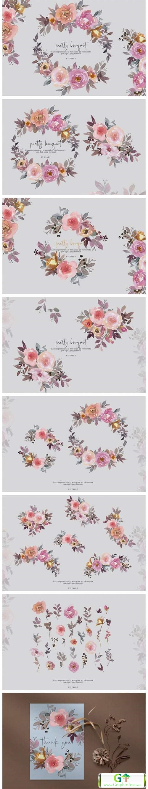 Pretty Bouquet Watercolor Clipart Set [Stock Image] [illustrations]