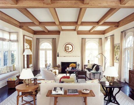 Long island style i 39 ll tell you when i get there - Wood beams in living room ...