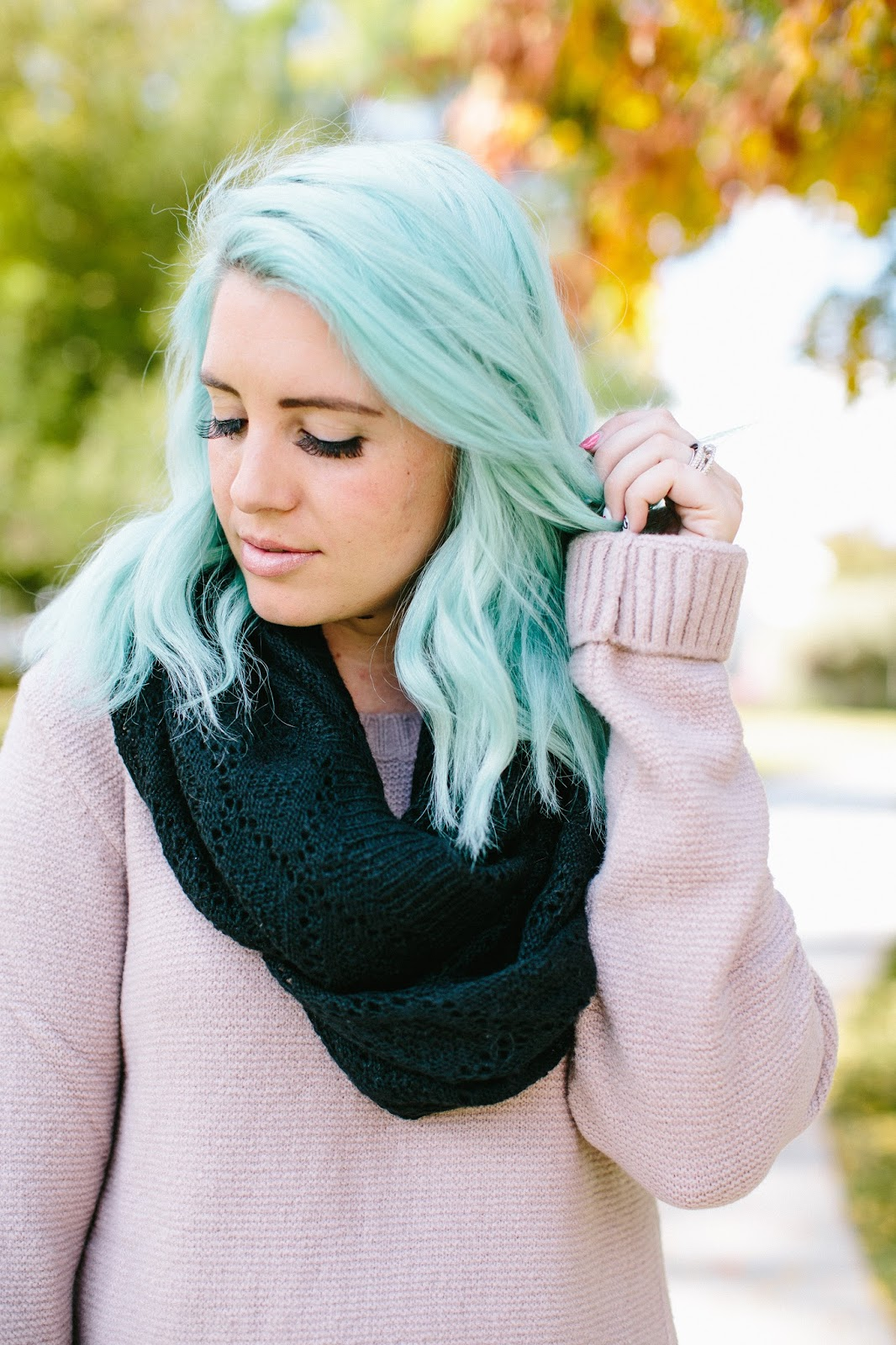 Black Scarf, Blue Hair, Pravana