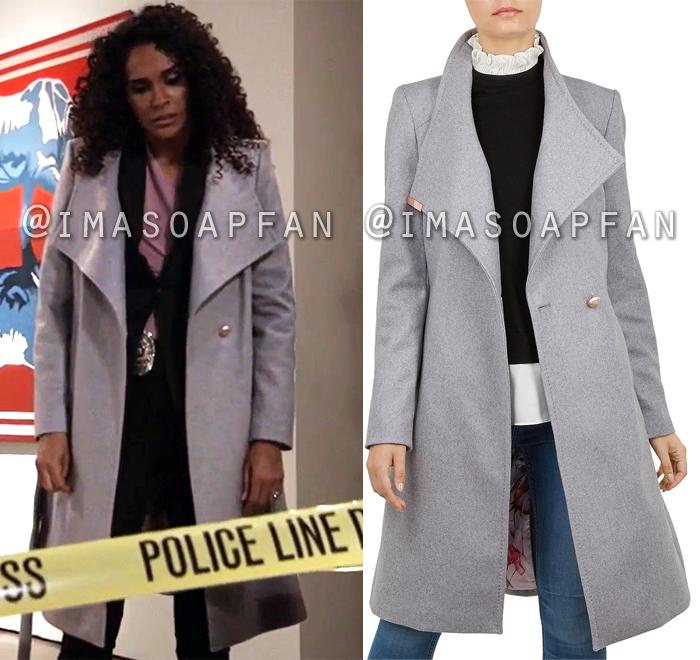 Jordan Ashford, Jordan Ashford, Belted Grey Wool Blend Wrap Coat, General Hospital, GH