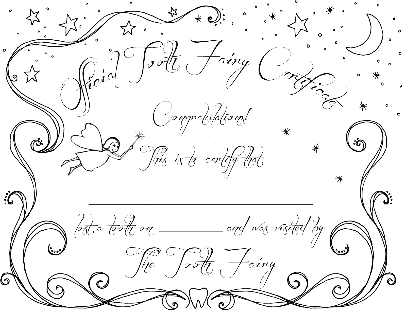 Ccpatchwork tooth fairy certificate for Free printable tooth fairy certificate template