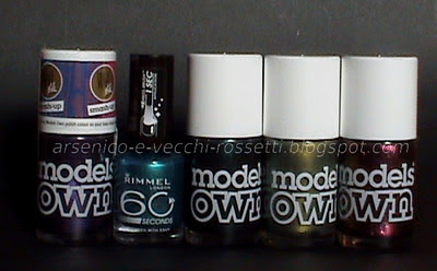 Models Own Smash Up Purple, Rimmel 60 Seconds Green with Envy, Models Own Emerald Black, Golden Green, Pinky Brown
