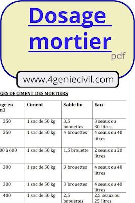 tableau Dosage mélange ciment sable pdf