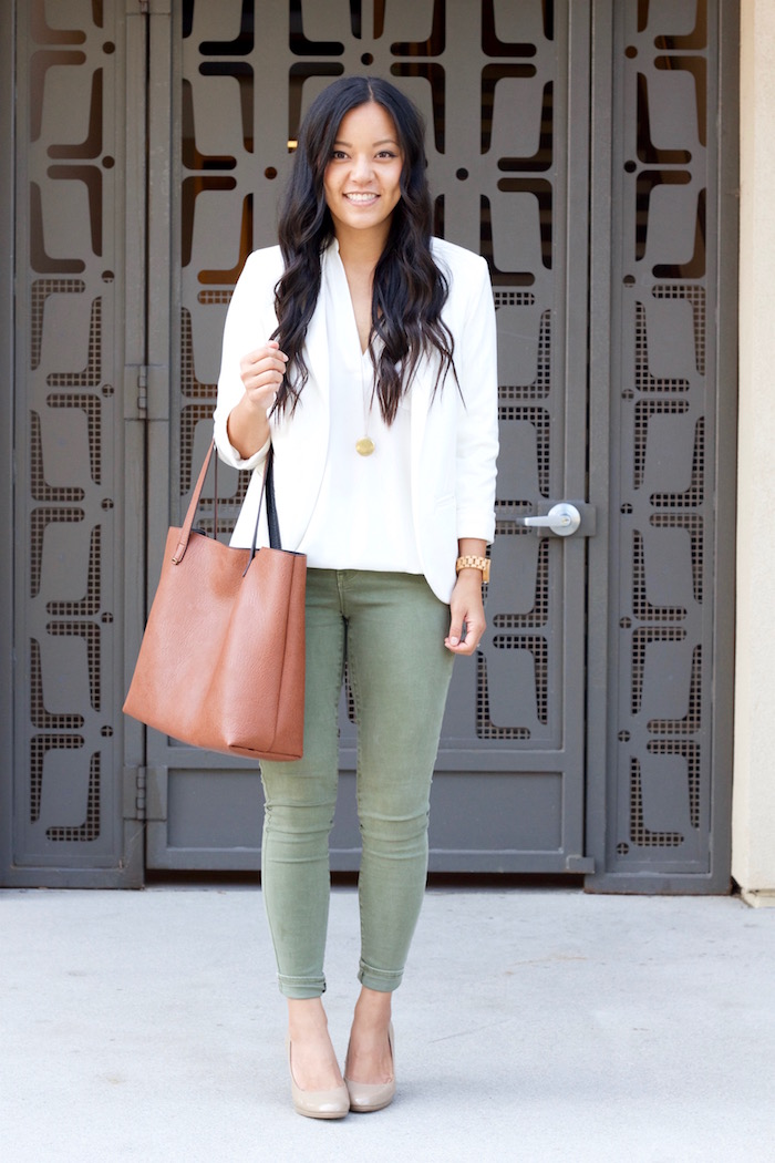 White Blazer + White Blouse + Olive jeans + Nude Pumps