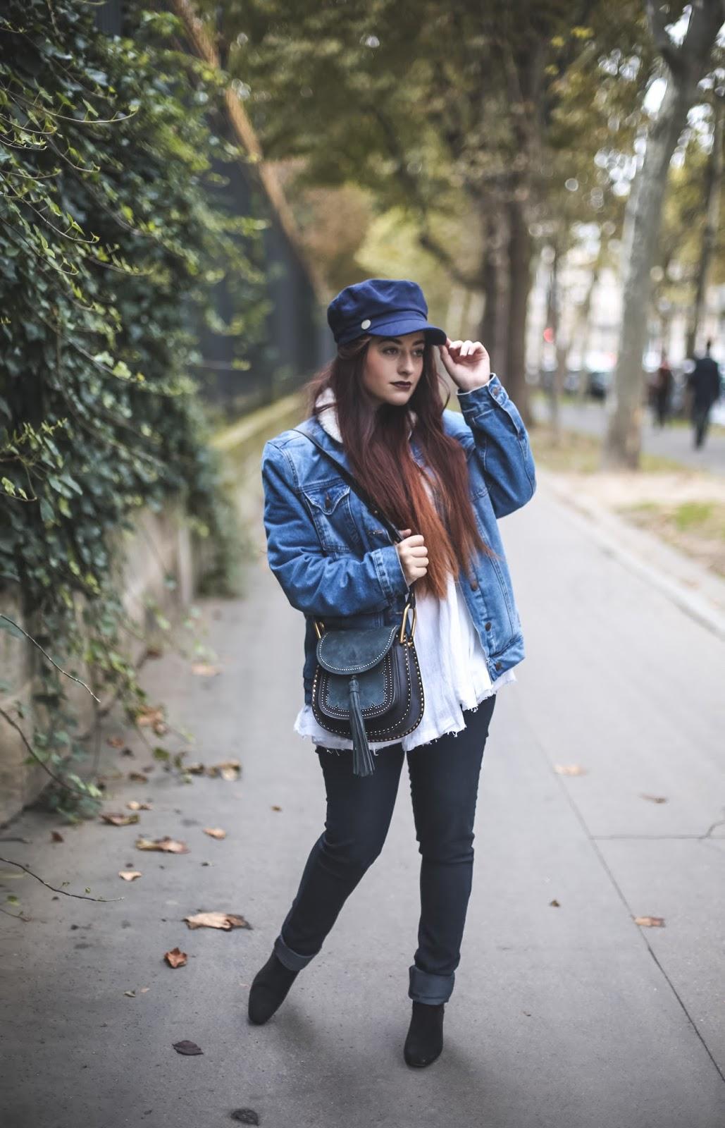veste en jean fourrée