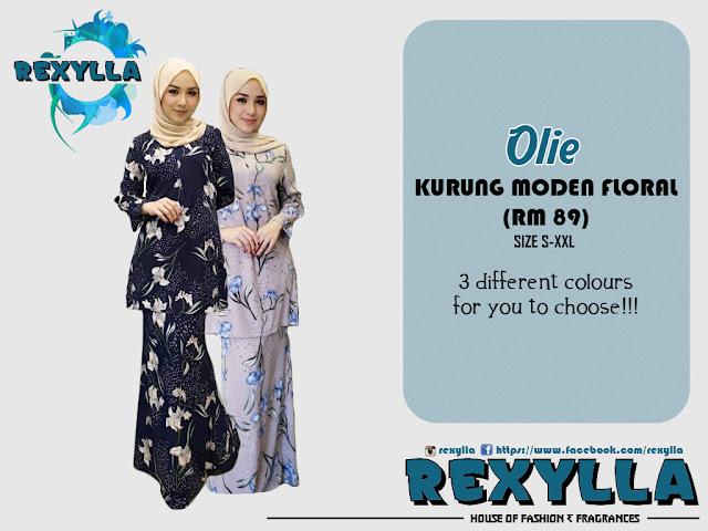 rexylla, baju kurung, kurung moden, floral, floral print, olie collection