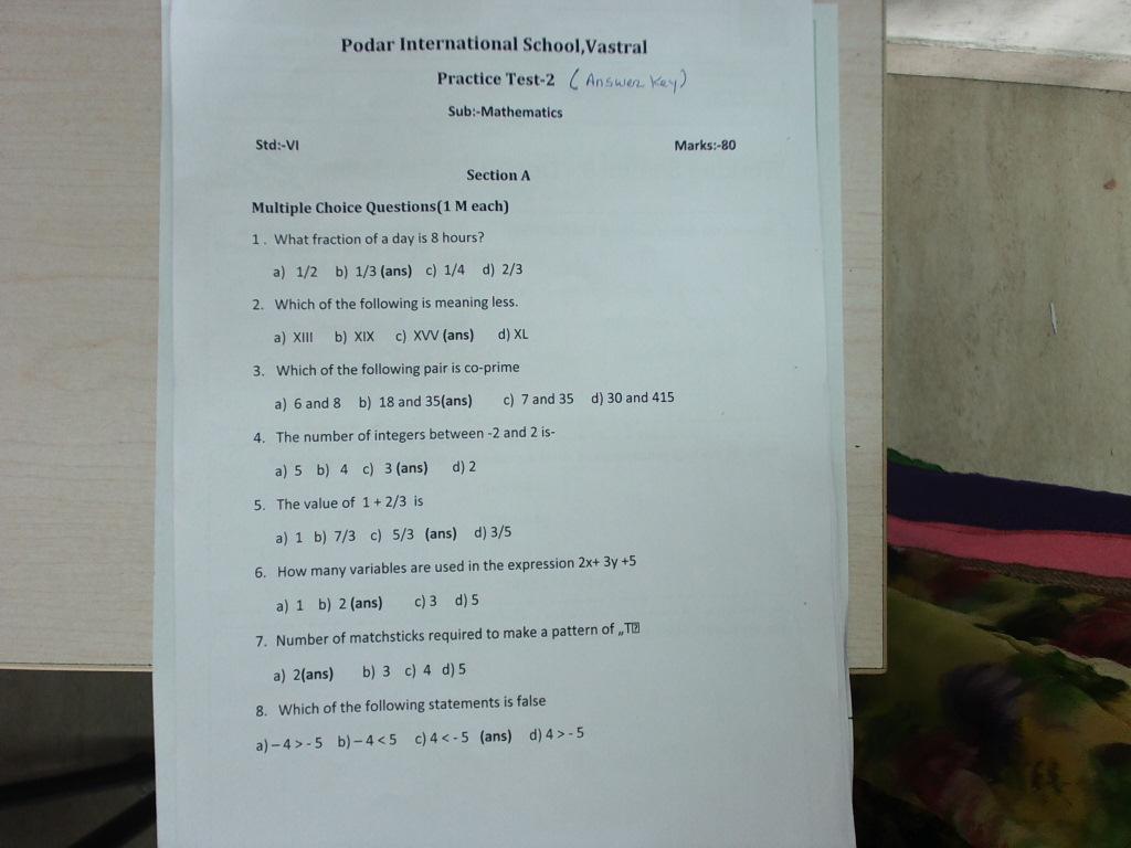 Maths practice test 2 (answer key) | Standard 6