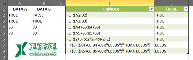 Contoh Fungsi OR Excel