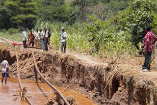 Town of Mpwapwa Tanzania flood damage