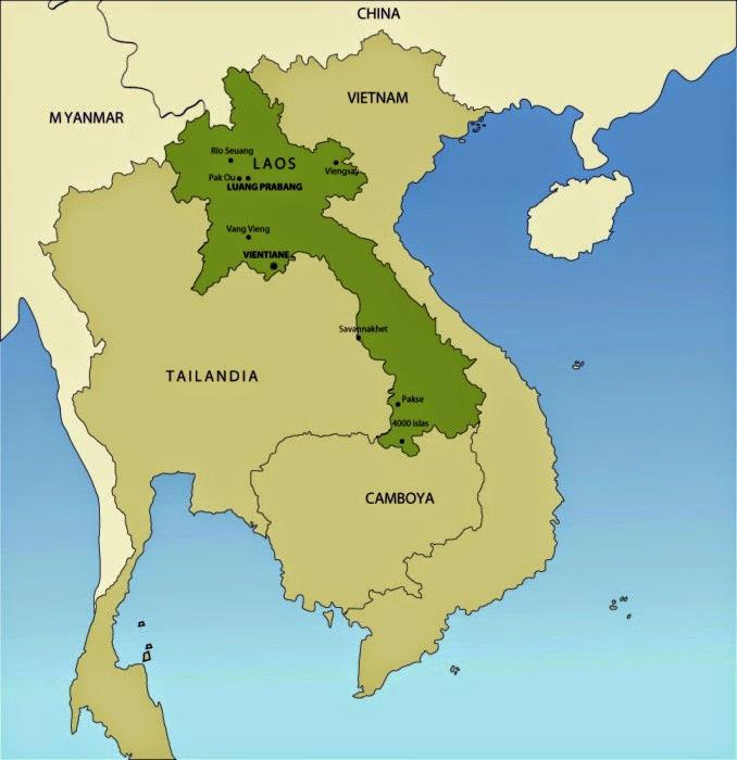 Laos Karte.Sehenswürdigkeiten Von Laos