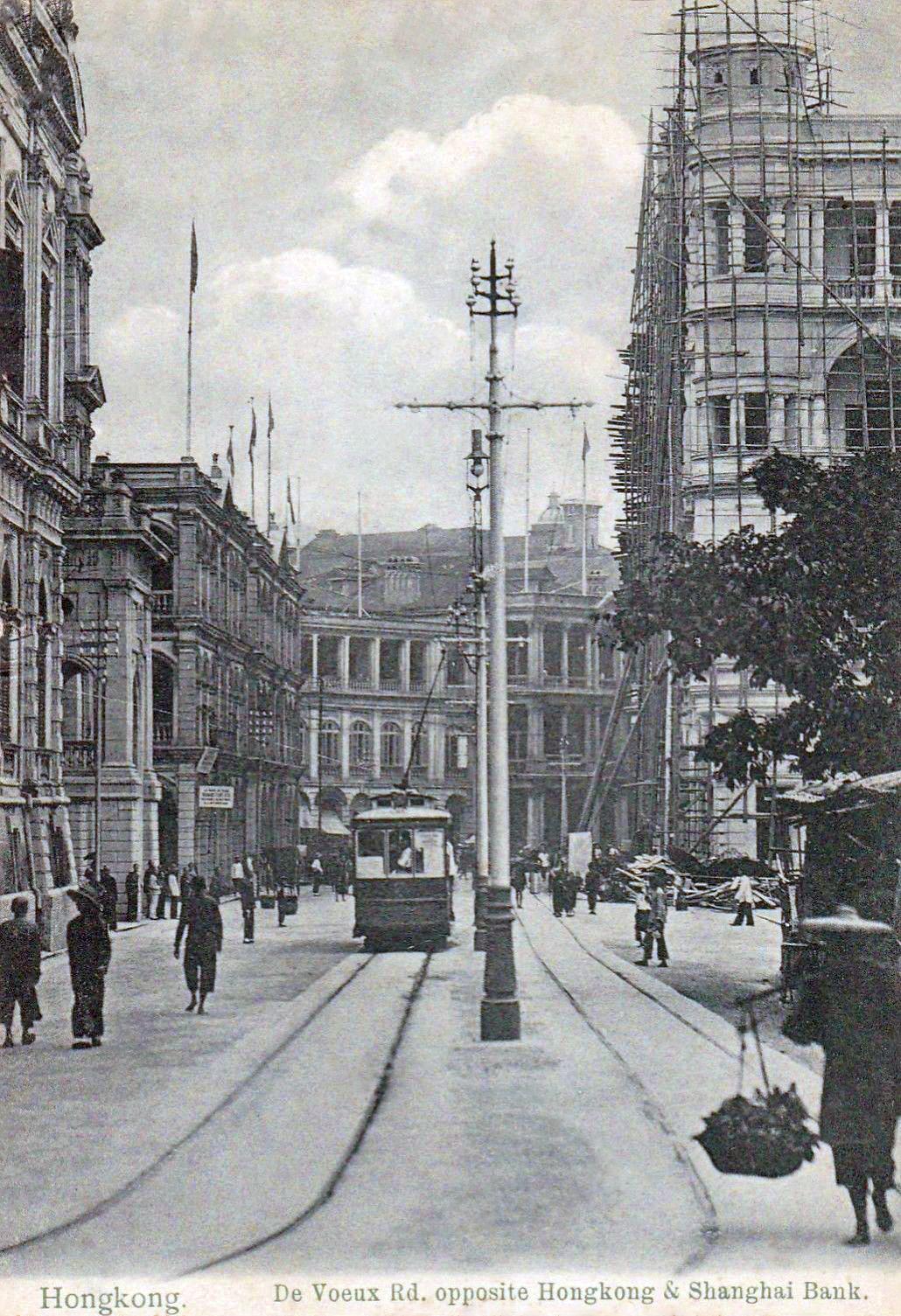 1fbcb595cb transpress nz: Hong Kong single deck tram circa 1910