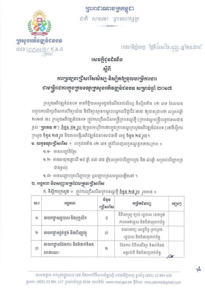 http://www.cambodiajobs.biz/2017/02/ministry-rural-development.html