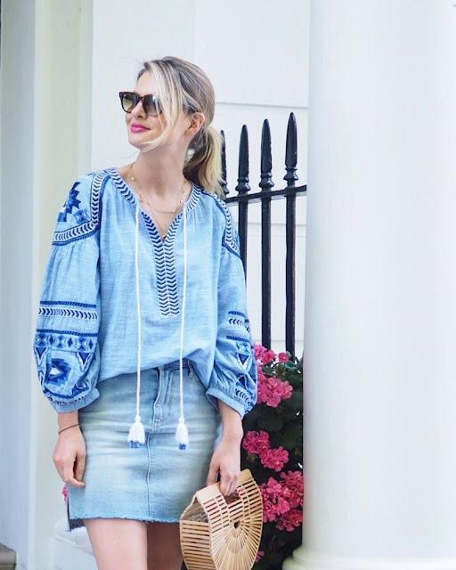 peasant blouse, boho blouse, denim skirt, Paige denim skirt, gult gaia bag, bamboo bag