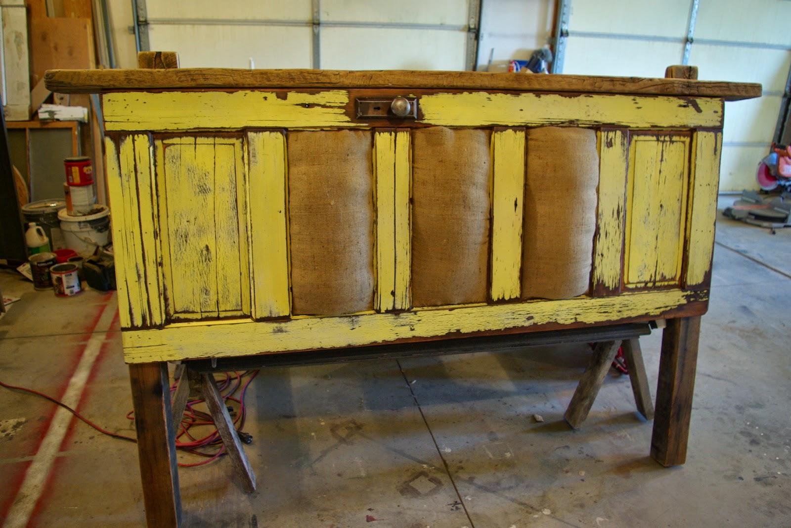 Reclaimed Rustics Vintage Door Headboard With Burlap Inserts
