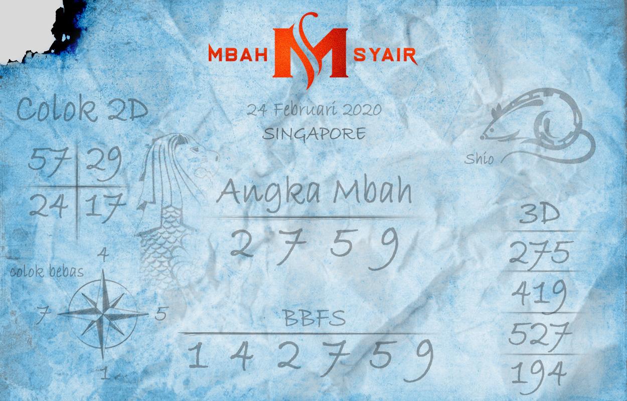 Prediksi Togel JP Singapura 24 Februari 2020 - Mbah Syair