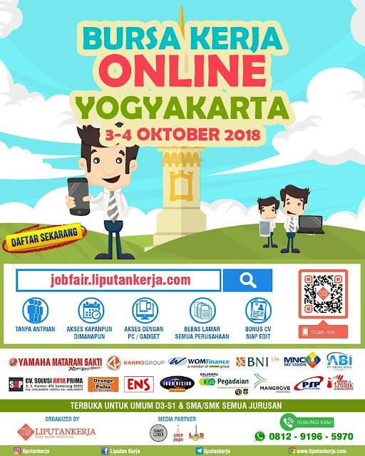 Bursa Kerja Online Yogyakarta Oktober 2018