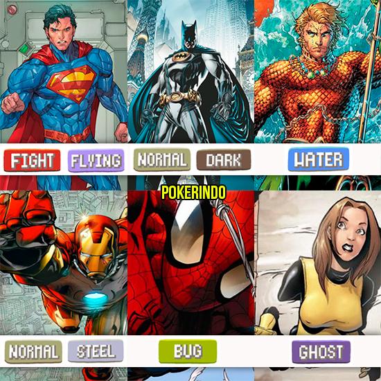 E se super-heróis tivessem tipos como Pokémon?