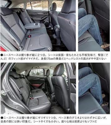 新型XV CX-3 後席室内の広さ 写真比較