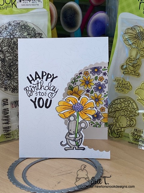 Happy birthday to you by Sue T. features Garden Mice, Uplifting Wishes, Floral Roundabout, and Circle Frames by Newton's Nook Designs; #newtonsnook, #inkypaws, #cardmaking